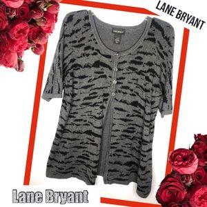 LANE BRYANT Animal Print Short Sleeve Cardigan